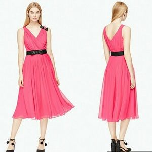 NWT Kate Spade Hot Pink Dress Black Gem Bow Detail